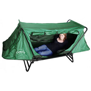 CAMPEZI Single Green Camping Cot Bed Stretcher Tent