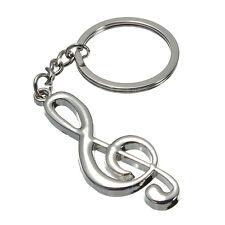 NEW metal treble clef music keyring tough chain links & split ring free postage