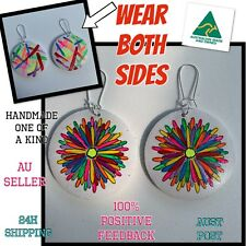 WEAR BOTH SIDES Earrings Art boho dangle bling hoops sparkles neon rainbow daisy