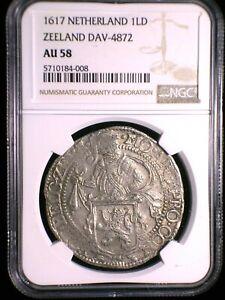 Netherlands Zeeland 1617 Lion Silver Daalder *NGC AU-58* >Tops Pops< Finest Knwn