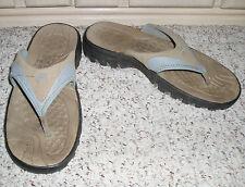 SPEEDO Thong Style Sandals Heels~Beige/Light Blue ~ Size 10