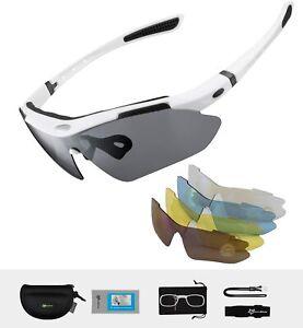 ROCKBROS Polarisierte Sportbrillen Fahrradbrille UV400 Schutz Damen Herren Weiß