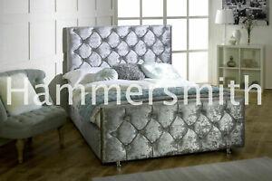 Florida Upholstered Crushed Velvet Bed Frame - Various Sizes / Colours 1111
