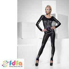 BLACK SKELETON PRINT CATSUIT 10-14 womens ladies fancy dress halloween costume
