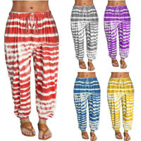 Womens Solid Tie-dyed Loose Pants Striped Harem Pants Drawstring Sports Trousers