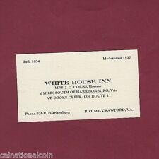 White House Inn Harrisonburg VA Business Card 1930s