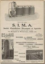 J0703 S.I.M.A. - Batterie de Silos à grains - Pubblicità d'epoca - 1929 Old ad