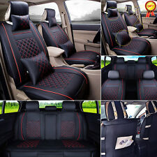 Black/Red 5-Seats Car PU Leather Seat Covers Front+Rear Set w/Neck Lumbar Pillow
