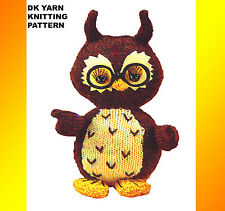 """LOVELY 10"""" high OLLIE OWL BIRD, TOY, TO KNIT, DK YARN KNITTING PATTERN ONLY 5653"""