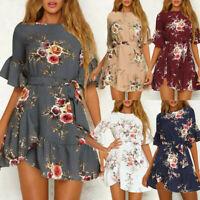 Women Ladies Ruffles Floral Bohemia Holiday Evening Party Beach Short Mini Dress