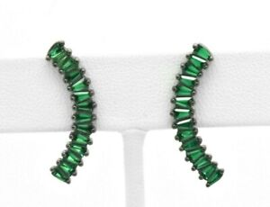 925 Sterling Silver Black Platinum Green Emerald Single Row Curved Stud Earrings