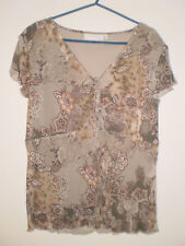 Multi Coloured Floral Flower Print Short Sleeved Summer Tunic Top Size 16