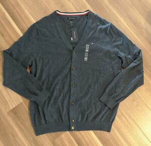 Tommy Hilfiger Mens Signature Cardigan Sweater Fall Ski Blue Size 3XL NWT