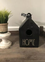 Rae Dunn 'HOME' Matte Black Birdhouse with Gingham Ribbon BRAND NEW 2020 RELEASE