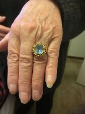 18ct Gold Vintage Blue Synthetic Stone Ladies Ring Size 'O'