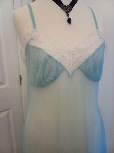 St Michael 1960s blue nylon frilly Chemise Babydoll Half Slip Ditsy Vintage