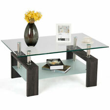 Rectangular Tempered Glass Coffee Table End Side Table with Shelf Home Furniture