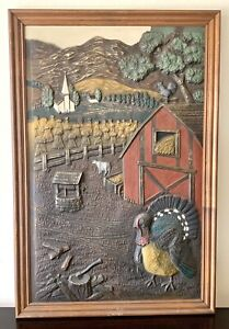 """Vintage Framed 3D Wall Painting """" The Red Barn"""" Art by Robert Taub 1961"""