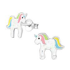 enfants filles argent sterling rose bleu jaune Unicorn Boucles d'oreilles -