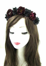 Black Dark Red Rose Flower Headband Hair Crown Sugar Skull Halloween Goth 469