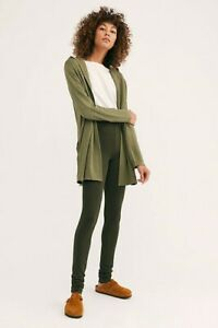 New Free People Bunny Cuddles Soft Legging, Olive Green, X-Small, RRP $38