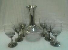 Vintage Mercury Glass Silver Fade Wine Carafe Pitcher Decanter 6 Wine Glasses