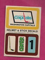 1979-80 TOPPS CAPITALS  HELMET AND STICK DECALS INSERT NRMT-MT (INV# 8260)