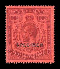 "CEYLON  1925  KGV 1000r violet, red  Scott# 218 mint MH VF  ""SPECIMEN"" - Rare"