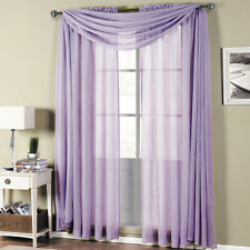 Abri Rod Pocket Crushed Sheer Curtain Panel set includes 2 panels and 1 scarf