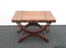 Vintage Spanish Style Bench w Leather Straps & Decorative Nails Made in Mexico