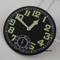 35MM Black Dial+Green Luminous Marks Pointer Fit ETA 6498 Hand Winding Movement