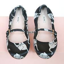 MIU MIU black satin Duchesse Cat print shoes SS10 kitty ballet flats 36/6 NEW