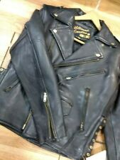 Vintage Real Leather COWHIDES Black Heavy Biker MC jacket NEW size 38 slim !