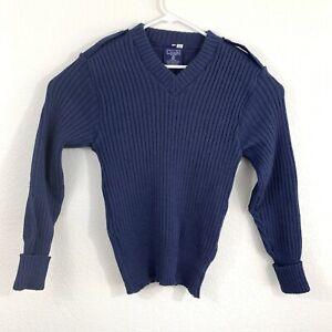 Vintage Citadel Mens Blue 100% Virgin Wool Sweater Size 42 Made in Great Britain