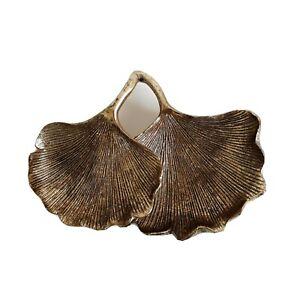 Gold Ginko Leaf Shaped Trinket Dish Tray Jewellery Keys Holder Gift Glam Decor