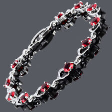 Wedding Gift 18K White Gold Plated Red Ruby Cubic Zirconia Tennis Bracelet