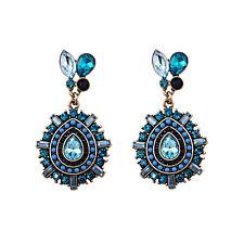 Boucles d`Oreilles Clous Doré Goutte Mini Perle Bleu Marine Retro AA18