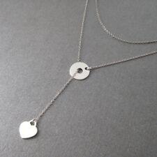 Collier sautoir fin réglable rond et coeur argent 925/1000e CO49