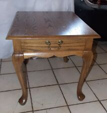 Solid Oak Side Table / End Table with Drawer by Mersman  (T743)