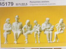 Sitzende Personen - Preiser Spur G 1:22,5 - 6 Stck. unbemalte Figuren 45179 #E