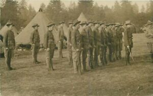 1910 Military Camp Soldiers Tent RPPC Photo Postcard 7505