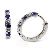 925 Sterling Silver Hoop Fine Earrings With Blue Zircon & Swarowski CZ