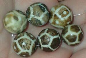 6 old Pumtek Pyu Burmese beads, 13-14.5mm, #S2161