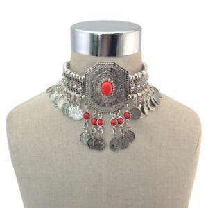 Afghan Collar Choker Necklace Tassel Ethnic Coin Statement  Gypsy Kuchi Alpaca