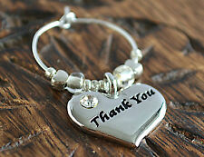 Wine Glass Charm Thank You Silver Plated Table Decoration Heart Charm Gift New