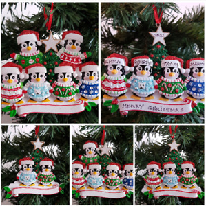 Personalised Christmas Tree Decoration Penguin Family In Cute Jumpers  2 - 6
