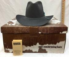 Cowboy Hat Resistol Mens Granite Gray Blue Felt w/ Feathers Size 7 Texas Made