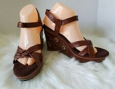 Seychelles Ankle Strap Loden Brown Leather Wedge Sandals Size 8 1/2 M New