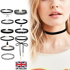10Pcs Choker Necklace Set Stretch Velvet Classic Gothic Tattoo Lace Retro Black