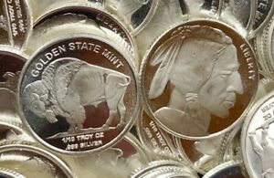 Lot of 3 Golden State Mint GSM 1/10 oz 999 Fine Silver Round Indian Head Buffalo